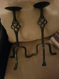 2 heavy Wrought-iron candle holders