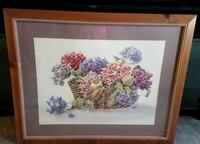 Large Framed Picture - Hydrangeas in a Wicker Basket - signed