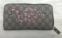 Gucci Kingsnake Print GG Supreme Zip Around Wallet Vaughan