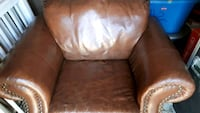 brown leather padded sofa chair Toronto, M6H 2A4