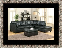 black leather sectional sofa with ottoman Herndon, 20171