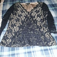 Inc lace black blouse large new Springfield