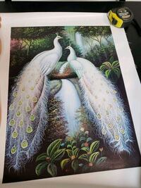 Beautiful canvas print with 2 peacocks  1194 mi