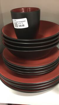 black-and-red ceramic dinnerware set