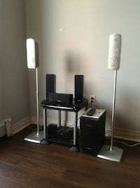black and white home theater system