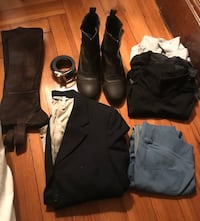 Used riding gear: boots, chaps, belt, shirts, breeches, show jacket