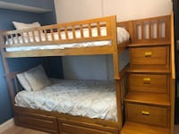 Twin-over-twin bunk beds with storage