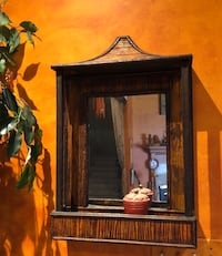 Bali wicker mirror with shelf - imported  Secaucus, 07094