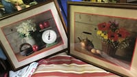 brown wooden framed painting of white and red flower Cohutta, 30710