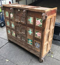 """#26033 Antique Recovered Asian Teak 50"""" Wide Cabin"""