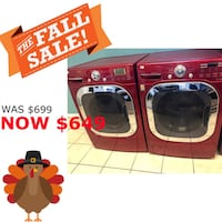 Red LG Front Load Washer and Electric Dryer Set  Elkridge, 21075