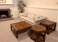 """""""3 Piece Family Room Table Set"""". $95 Solid wood. $95 for all three tables, cash only. Non-smoking and pet free home. Tables are located in finished basement. Tables will need to be moved by buyer.   * Palm tree in photo is also available for $5 (see detai Crofton, 21114"""