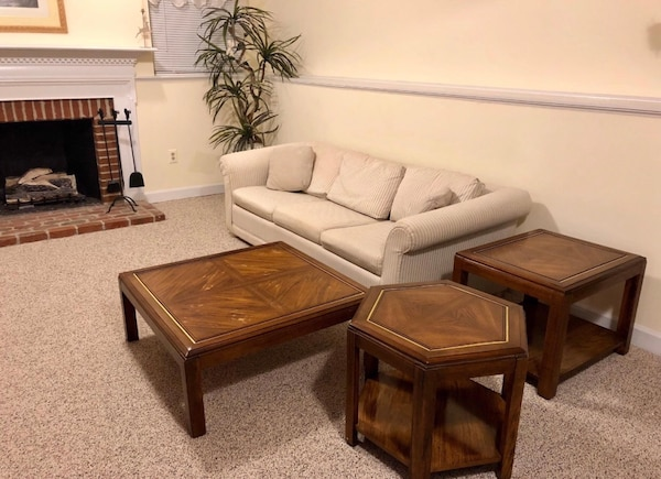 """""""3 Piece Family Room Table Set"""". $95 Solid wood. $95 for all three tables, cash only. Non-smoking and pet free home. Tables are located in finished basement. Tables will need to be moved by buyer.   * Palm tree in photo is also available for $5 (see detai"""