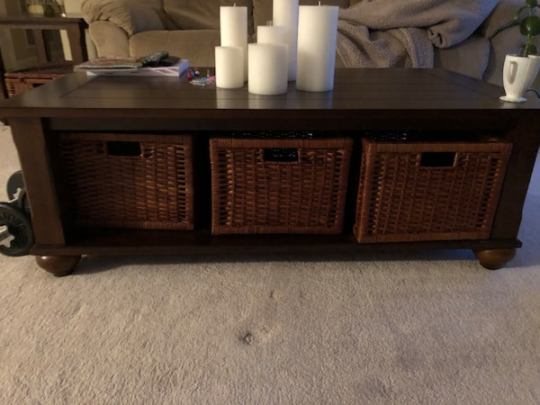 Used Dark Brown Coffee And End Tables With Storage Baskets For