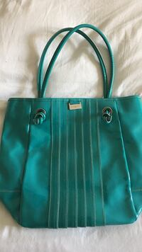 Teal patent leather tote bag