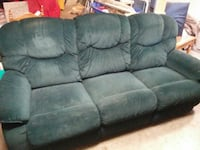 black velvet recliner 3-seat couch