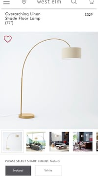 "West Elm Floor Lamp - Overarching Linen Shade Floor Lamp (77"") 盖瑟斯堡, 20878"