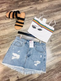 Rainbow striped crop top Bakersfield