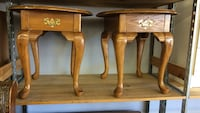 two round brown wooden side tables West Chester, 19380
