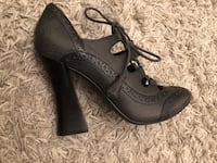 pair of black leather open toe ankle strap wedges Toronto, M3H 3C1