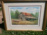 Feed Barn and Wagon Framed Print by Donna and Jerr Washington