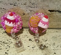 pink and white cake themed keychains Baltimore, 21205