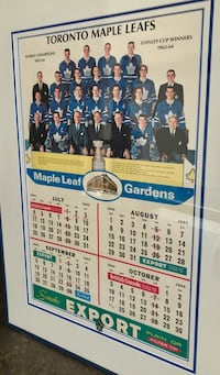Toronto Maple Leafs 1965 100% original calendar , framed excellent condition.  Leafs coming off the 1963 & 64 Stanley cup victory offer this amazing piece showing the team and staff , nice colours great vintage advertising a must have for the Leaf fan / m Toronto, M5V 2X5