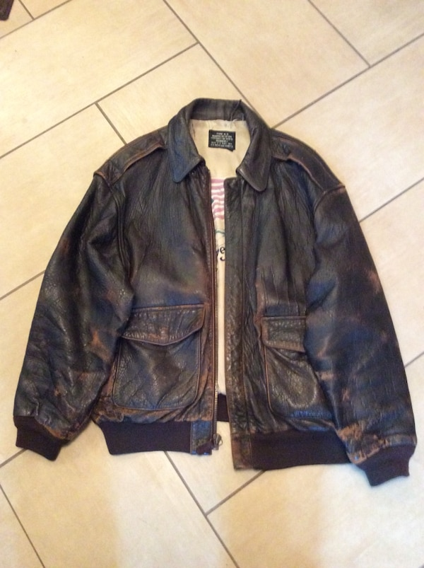 7b93f1551 Jacket Leather Bombardier W.W. II Type A-Z Avirex The Stars and Stripes  Forever XL (Has Wear)