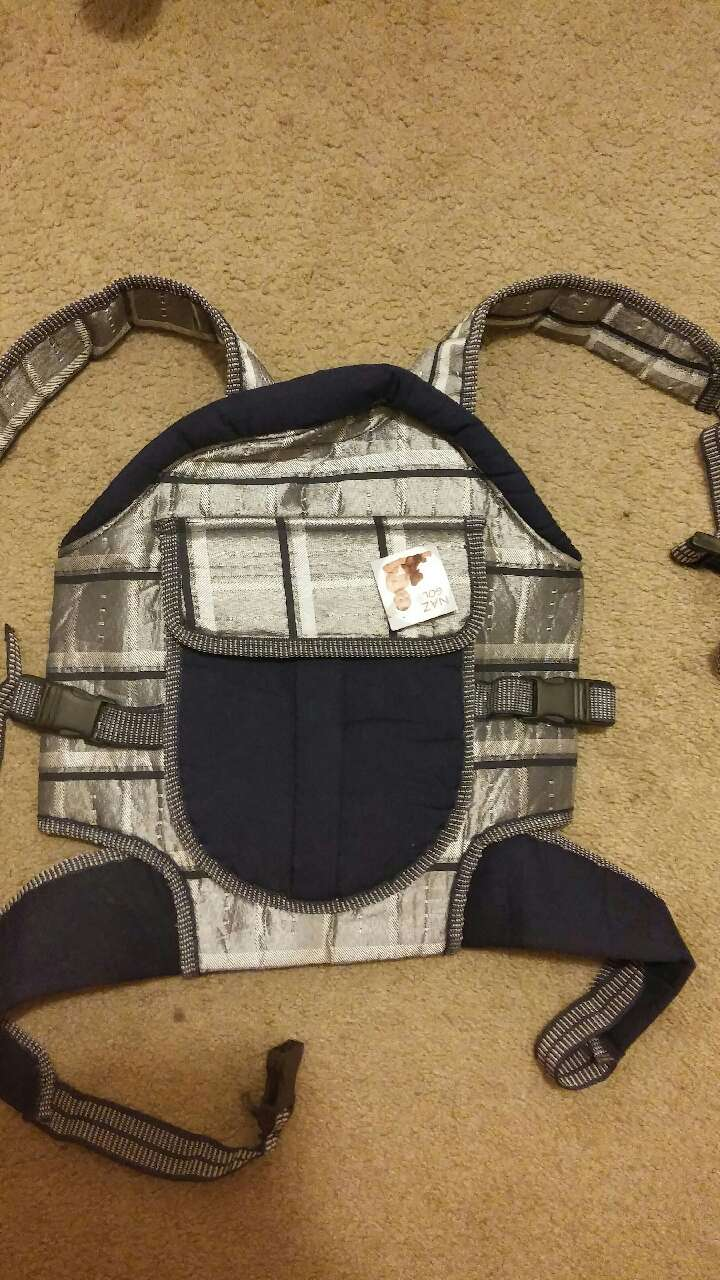 baby's grey and black carrier