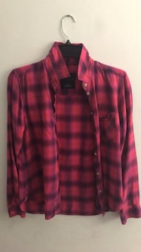 Pink and black plaid flannel - Size S  Annandale, 22003