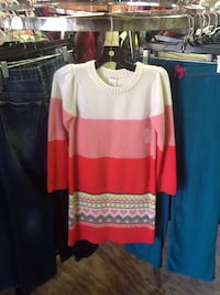 white, pink, and red sweater