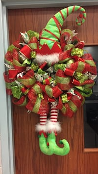 red and green elf ribbon wreath