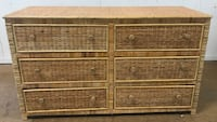 Six Drawer Rattan Wicker Dresser