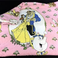Beauty And The Beast Bed Sheet Twin Flat Vintage 90's Disney Pink Fabric 1994 Port Colborne