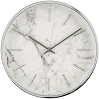 "11.5"" Chrome Finish Marble Pattern Wall Clock"