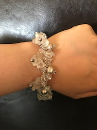 """925 silver bracelet with clear stone and silver beans18"""" Burnaby, V5H 1Z9"""