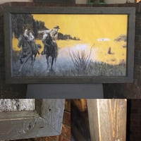 Cowboy Indian canvas framed in distressed wood   Langley, V3A 1R2