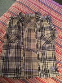 Blue and white plaid button-up shirt Waldorf, 20602