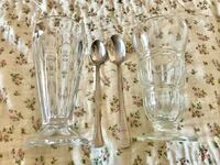 Ice Cream Float & Sundae Glasses w. Spoons