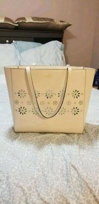 white and brown floral leather tote bag Mississauga, L5L 2S3