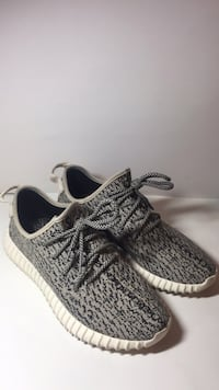 gray-and-white Adidas Yeezy Boost 350