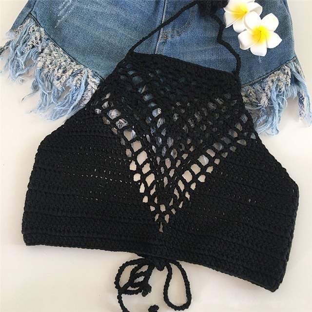 Black Backless Crochet Knit Halter Crop Top Size Small