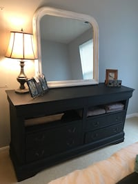 Brown wooden dresser with mirror 17 mi