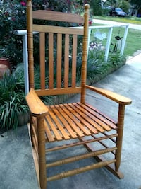 brown wooden rocking chair with green cushion China Grove, 28023