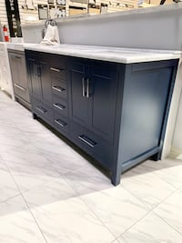 """60"""" double sink modern bathroom vanity cabinet Blue with marble top Fairfax, 22031"""
