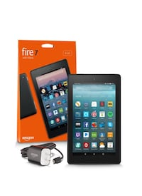 black Amazon Fire 7 with orange box
