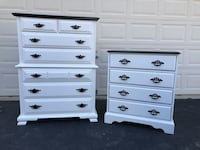Sumter Furniture Solid Wood 7 Drawer Tallboy Dresser With Extra Large Nightstand White With Black Top 48 km