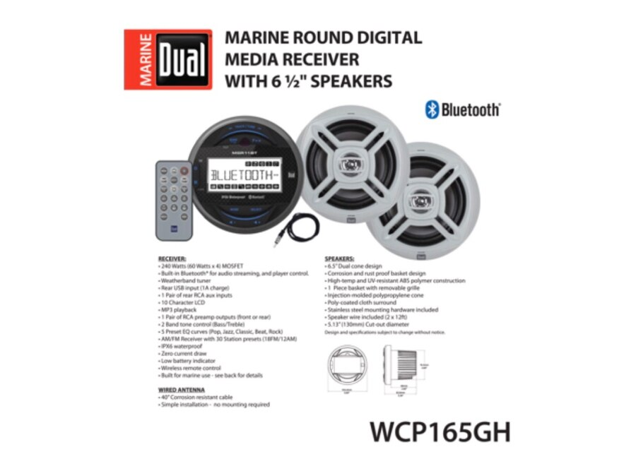 futurepost.co.nz Two 6.5 inch Dual Cone Marine Speakers & Long ...