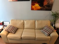 Beige/Cream Three Seater Leather Couch Mississauga, L5B 0K4