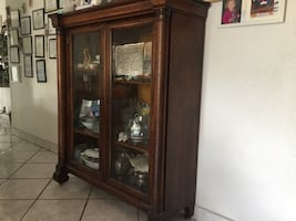 brown wooden display cabinet 1920 tiger wood antique good condition
